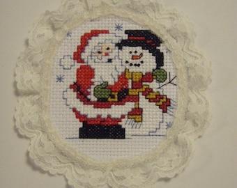 Cross Stitche MR & MRS SANTA Christmas ornament