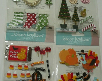 CHRISTMAS & HALLOWEEN CANDY Jolee's Boutique 3d Scrapbooking stickers - Trees, Stockings, Turkeys