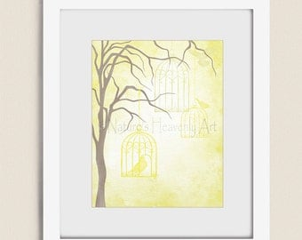 Yellow Wall Decor Hanging Bird Cages, 11 x 14 Artwork for Home or Office, Bird Wall Art Print (194)