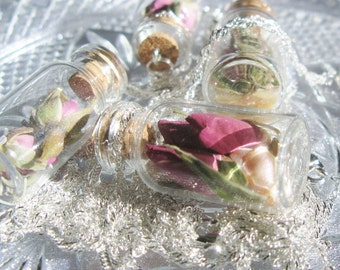 Elegant Jar Necklace - Roses & Mother of Pearl with Sterling Silver Chain - Garden Wedding Party