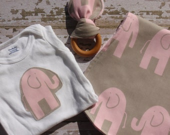 Ready to Ship-The Couture Mama Gift Set- Onesie, Burp Cloth and Organic Teething Ring- Ele