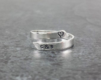 14k White Gold Personalized Wrap Ring - Hand Stamped Custom White Gold Ring