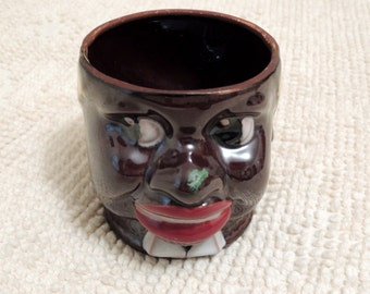 Vintage Black Americana Marked 'Made in Occupied Japan' Mammy Polka Dot Head Vase