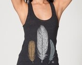 3 Feathers by Chill Clothing Co printed on American Apparel Tri blend in Heather Black