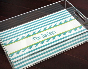 Personalized Lucite Tray - Monogram Tray - Serving Tray - Nautical Tray - Waves