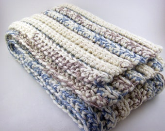 Cashmere and Merino Wool Scarf, cream and blue multicolor scarf