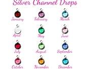 Birthstone Silver Channel Set - Silver Channel Drop - Swarovski Elements Crystal - Birthstone Add on - Birthstone Crystal