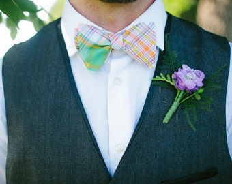 Bow Ties, Bow Tie, Bowties, Mens Bow Ties, Freestyle Bow Ties, Self-Tie Bow Ties, Wedding Ties, Groomsmen Bow Ties- Green, Orange, Red Plaid