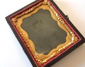 Antique Ambrotype with Case Tintype of Young Boy Half Case