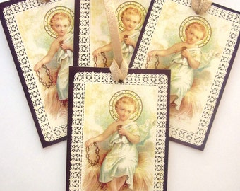 Religious Holiday Gift Tag French Holy Card Paper Lace Tag