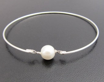 Simulated White Pearl Bracelet, Bridal Bracelet, Bridal Jewelry, Simulated Pearl Bangle Bracelet, Simulated Pearl Jewelry, Simple Bracelet