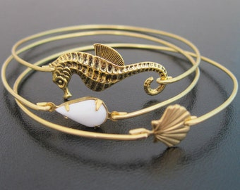 Beach Jewelry, Seahorse Jewelry, Sea Shell Jewelry, Shell Bangle, Beach Themed Jewelry, Beach Theme Gift, Beach Girl Bracelets, Sea Jewelry