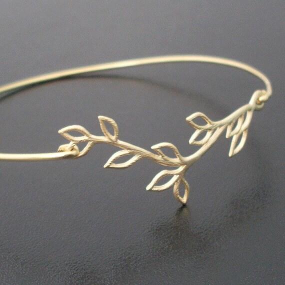 Olive Branch Bracelet, Olive Branch Jewelry, Gold Branch Bracelet, Gold Bangle, Olive Leaf Jewelry, Grecian Jewelry, Olive Branch Bangle