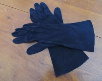Navy hand sewn suede gloves