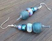 Dark Teal Blue Recycled Glass Earrings - Teal Recycled Glass Beads, Purple Lampwork Beads, Gray Hemp Earrings, Asymmetric Dangle Earrings