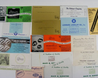 Ink blotter Cards Vintage Advertising for Diamonds Jewelry Stores Jewelers 1940's