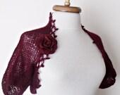 Bordeaux  Mohair Bridal Wedding Romantic Shrug-Felted Brooch-Ready for shipping