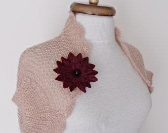 Pink Mohair Bridal Wedding Romantic Shrug-Felted Brooch-Ready for shipping