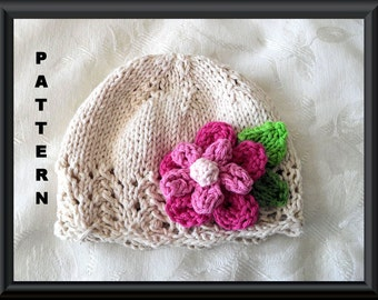Baby Hat Pattern Knitted Hat Pattern Newborn Hat Pattern Infant Hat Pattern Knit Hat  with Flower Easter Hat Pattern: BRIGHT AND BEAUTIFUL