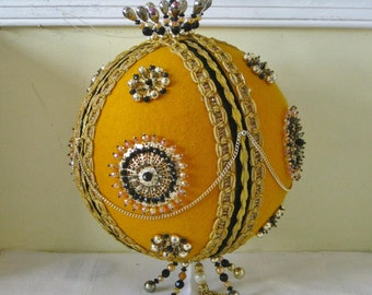 Large Vintage Ric Rac Ball Beaded Decoration Vintage Handmade Gold Felt Halloween Christmas Holiday Decor