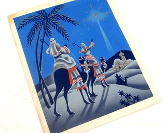 Vintage Christmas Greeting Card, Three Wise Men, Religious, Blue, Old  (439-14)