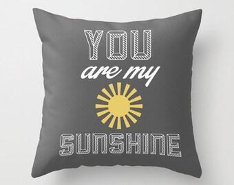 Sunshine Gray POPULAR FABRIC Throw Pillow Cover Case 16X16 or 18x18 Or 20x20 Hidden Zipper