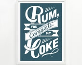 Rum and Coke Print, 9 x 12 - Hand Printed - Pick Your Color