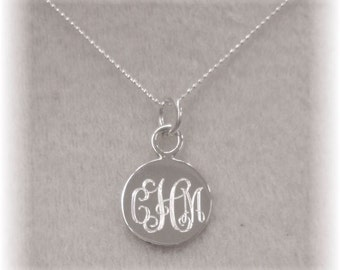 Monogrammed Sterling Silver Name Necklace, Engraved Silver Initial Necklace, Personalized Jewelry, Flower Girl, Bridesmaids Gifts, Sisters