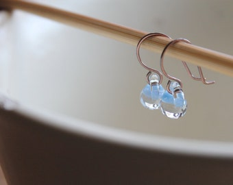 Water Droplet Earrings - Borosilicate Glass Teardrops on Antique Copper Wires in Morning Sky Blue
