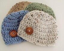 Baby Boy Hat, Toddler Boy Hat, Button Hat