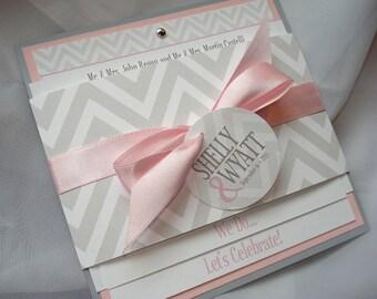 Chevron Chic Belly Band Square Wedding Invitation - Sample