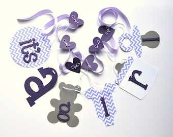 Purple chevron and grey baby shower decorations baby it's a girl banner by ParkersPrints on Etsy