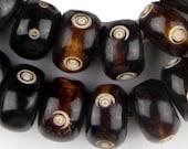 40 Carved Eye Design Batik Bone Beads Large - African Bone Beads - Jewelry Making Supplies - Made in Kenya ** (BON-RND-EYE-259)
