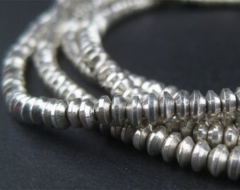 200 Bicone Beads - African Metal Beads - 3mm Heishi Beads - Metal Spacers - Fair Trade - Made in Africa (MET-HSHI-SLV-130)
