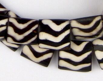32 Arrow Design Batik Bone Beads Flags - African Bone Beads - Jewelry Making Supplies - Made in Kenya ** (BON-FLT-WAV-258)