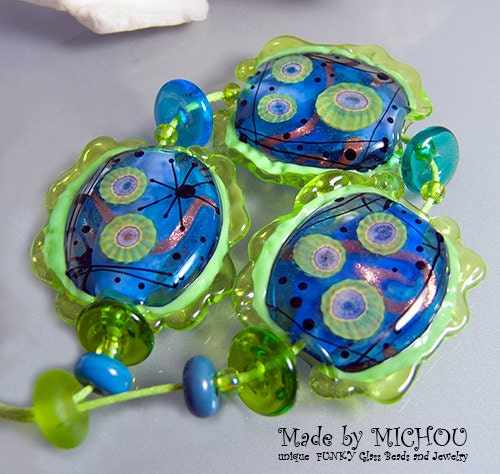 The Deep Blue Art Glass Set By Michou P Anderson