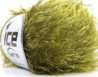 olive green eyelash yarn ice yarns 1 skein 50gr bulky polyester chunky craft rug yarn turkish us 10 82 yards 1.76 oz 22785