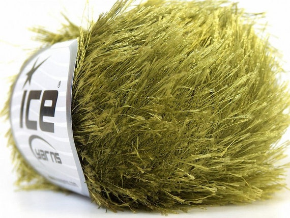 Eyelash Yarn : olive green eyelash yarn ice yarns 1 skein 50gr bulky polyester chunky ...