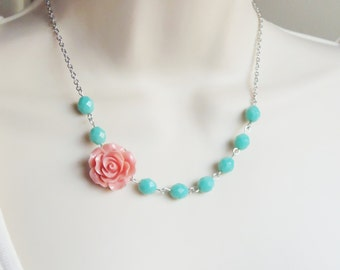 Pink and Mint Flower Necklace. Pink. Mauve. Turquoise. Bridesmaid Necklace. Bridal Jewelry. Silver Necklace. Rose. Turquoise Necklace.