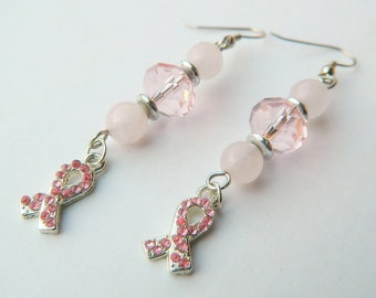 Ribbon Healing Love Rose Quartz and Pink Crystal Breast Cancer Awareness Dangle Earrings