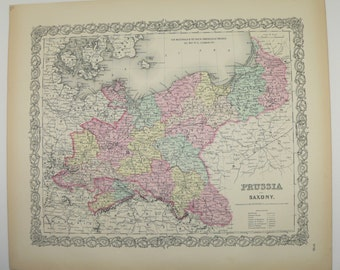 Eastern Germany Map, Antique 1856 Colton Map, Prussia Saxony Poland Map, Office Art Gift for Coworker, 1st Anniversary Gift, Vintage Art Map