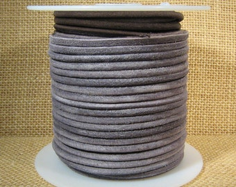 3mm Round Suede Cord - Grey - 3MRS-6 - Choose Your Length