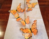 Feather Butterfly Garland streamer party decorations, 4 feet, Orange Monarch