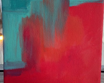 "Original Acrylic Painting Abstract on 6x6 Deep Canvas - Painting Home Decor Artwork - ""Red Abstract"""