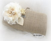 Linen Clutch, Ivory, Silver, Cream, Handbag, Purse, Rustic Wedding, Shabby Chic, Mother, Maid of Honor, Pearls, Lace, Elegant Wdding