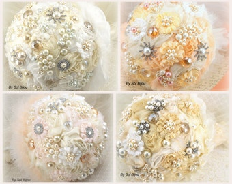 Brooch Bouquet, Wedding, Jeweled, Ivory, Cream, Gold, Tangerine, Blush, Peach, Pearls, Crystals, Chiffon, Lace, Tulle, Vintage, Gatsby