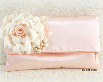 Peach Clutch, Ivory, Cream, Elegant Wedding, Satin Clutch,Bridal Clutch, Bridesmaids, Maid of Honor, Handbag, Purse,Pearls, Vintage Inspired