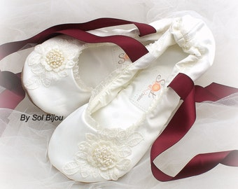 Ivory Ballet Flats, Burgundy, Wine, Shoes, Wedding, Lace Up Flats, Bridal Flats, Ballerina Slippers, Flower Girl, Lace, Pearls, Elegant