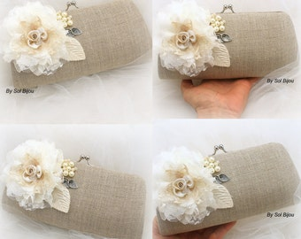 Linen Clutch, Ivory, Cream, Tan, Silver, Rustic Wedding, Bridal, Handbag, Purse, Bridesmaids, Pearls, Lace, Vintage Style, Elegant