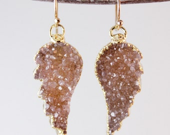 50% OFF SALE - Druzy Angel Wings Earrings - Multi Colour Druzy - Choose Your Stones